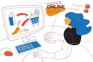 Order online - colorful flat design style banner