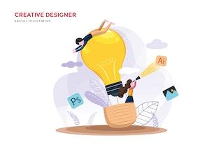 Creative designer teams vector illustration