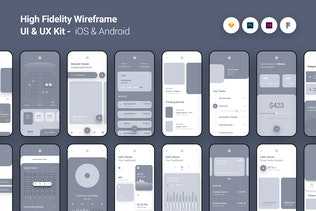 High Fidelity Wireframe UI UX Kit iOS Android App