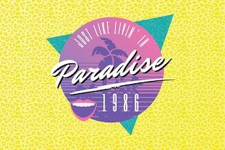 1980s Beach Party Logo Design