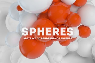 Abstract 3D rendering of Spheres | White  + Orange