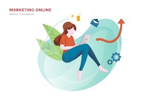 Woman online marketing vector illustration