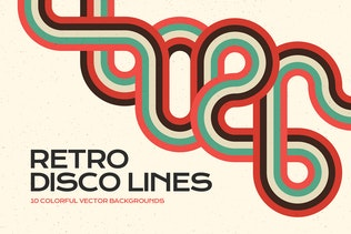 Retro Disco Lines Vector Backgrounds Pack