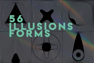 56 illusions forms abstract. Surrealistic optical
