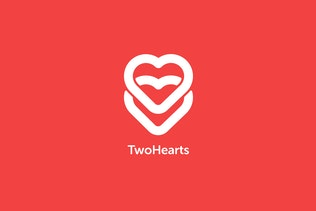 Two Hearts Logo Template