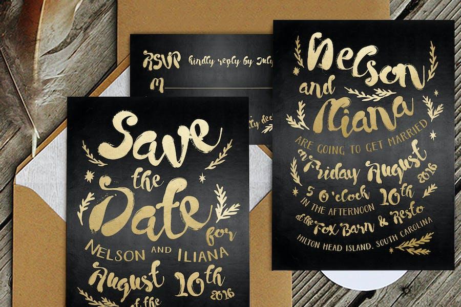 Black & Gold Hipster Invitation