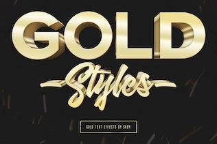 3D Gold Text Effects - 10 PSD