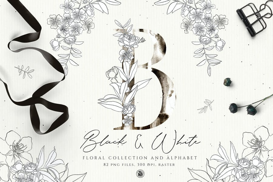 Cover for Black And White Floral Alphabet