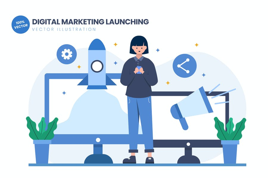 Digital Marketing Launching Flat Illustration