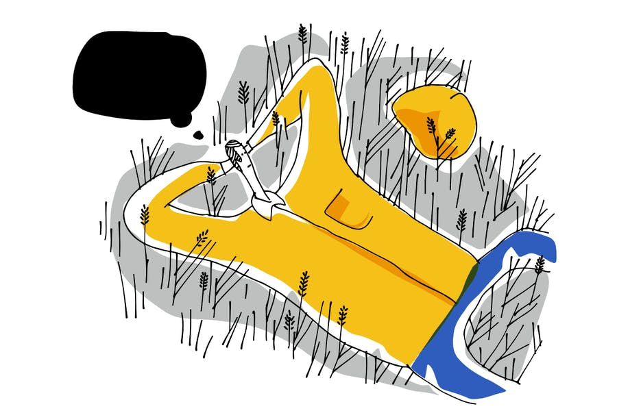 Cover for Chilling on Grass. Mural illustration