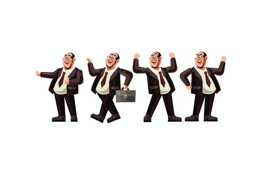 Boss Character Set Graphics Vector Illustration