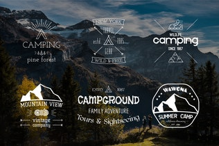 Outdoor Retro Camping Badges and Logos