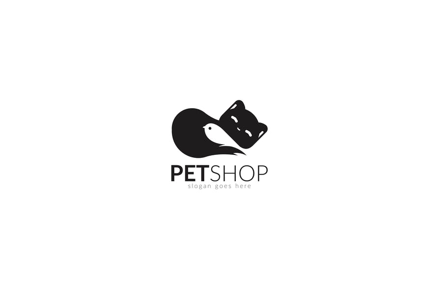 Pet Shop Animal Care Cat & Bird Logo