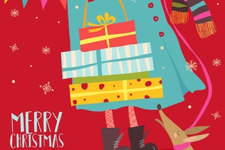 Girl holding christmas gifts. Vector greeting card