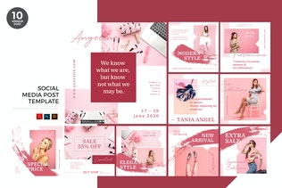 Pink Fashion Social Media Kit PSD & AI Template