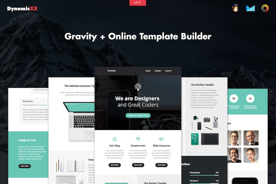 Gravity - Responsive Creative Email + Builder