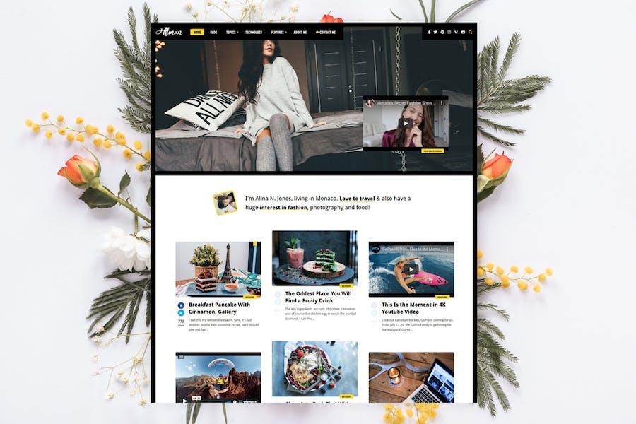 Alinan - Personal Blog / Vlog WordPress Theme