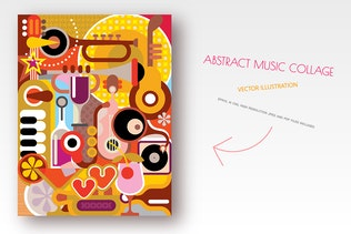 Abstract Music Collage vector illustration