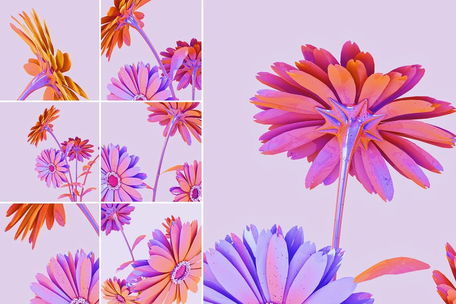 Holographic Flowers Abstract Backgrounds
