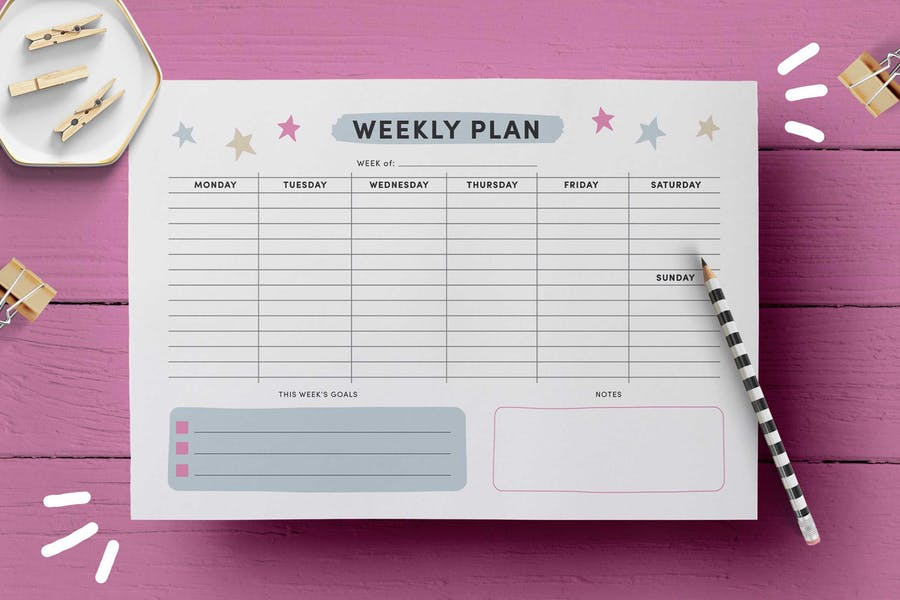 Weekly Planner Page Template