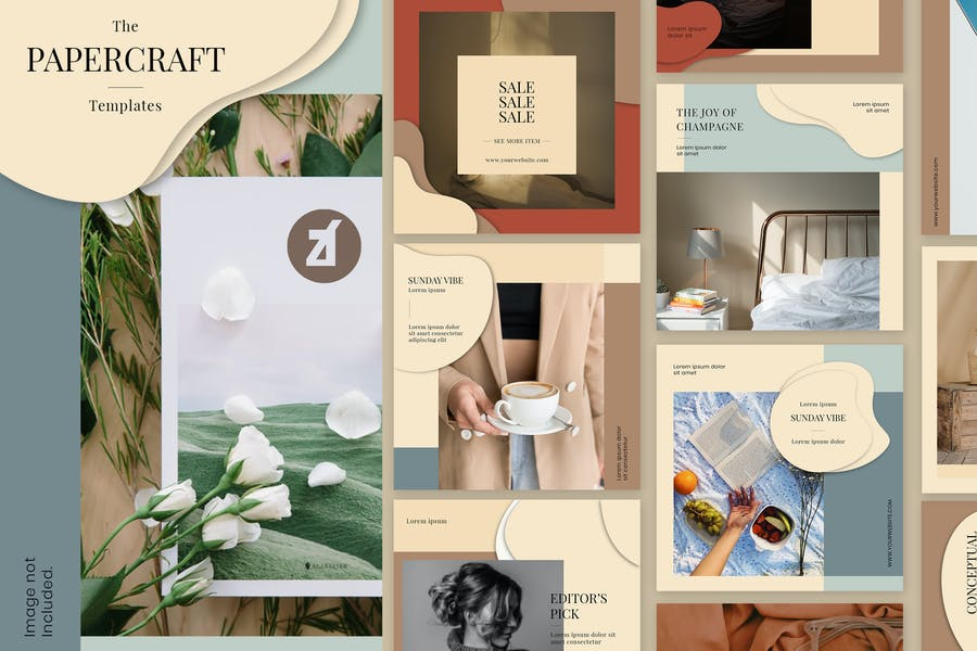 Cover for Paper craft social media graphic templates