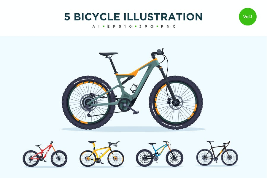 5 Sport Bicycle Vector Illustration Set 1
