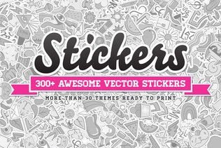 300+ Stickers Vector Set