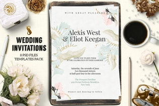 8 Wedding Invitations Pack 1