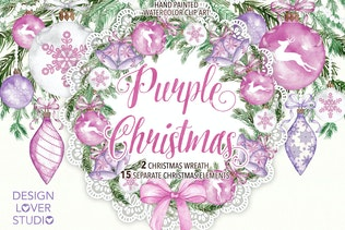 "Watercolor ""Purple Christmas"" design"