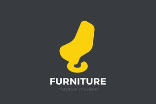 Arm Chair Logo Furniture Negative space
