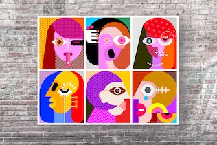 Six Faces layered vector illustration