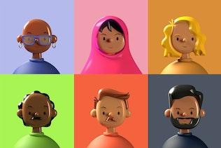 Diverse 3D Avatars Six Pack — Toy Faces