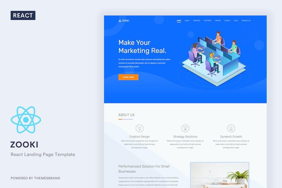 Zooki – ReactJs Landing Page Template by Themesbrand