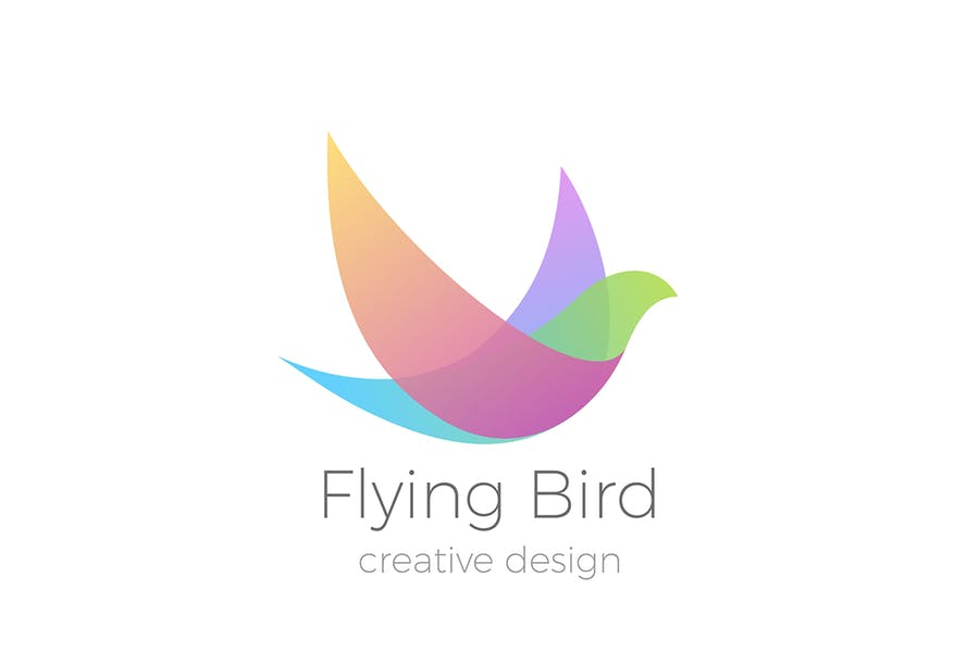 Logo Flying Bird Swallow Dove Colorful