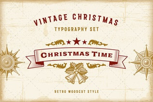 Vintage Christmas Typography Set