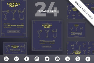 Cocktail Party Social Media Pack Template