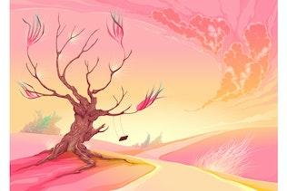 Romantic Landscape with Tree