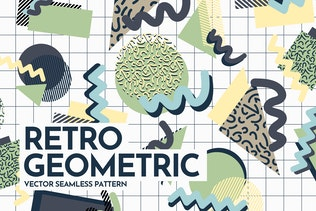 Retro Geometric Shapes Seamless Patterns