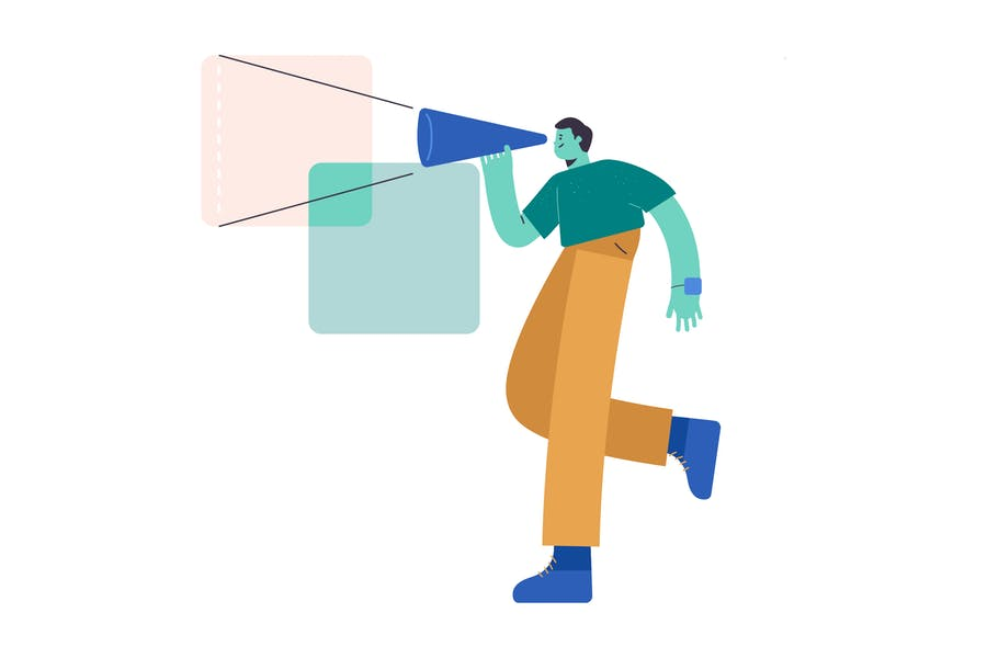 Cover for Marketing Flat Illustration