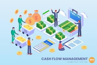 Isometric Cashflow Management Vector Concept