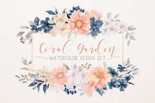 Coral Garden Watercolor Clip Art Collection