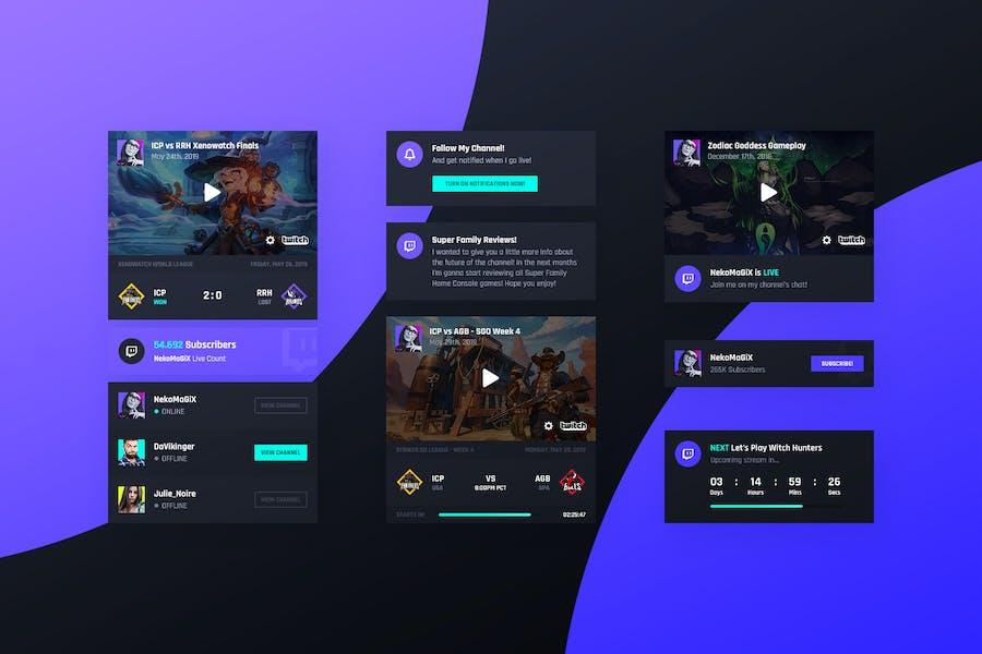 Asgard Plugin - Twitch UI Cards - PSD Template
