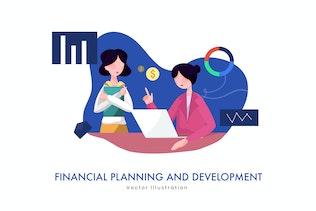 Financial Business Plan vector Illustration