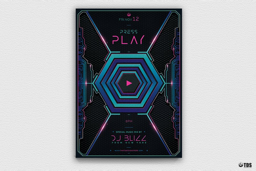Press Play Flyer Template