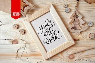 Christmas Wooden frame mock up