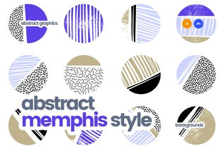 Abstract Patterns in Retro Memphis Style Design