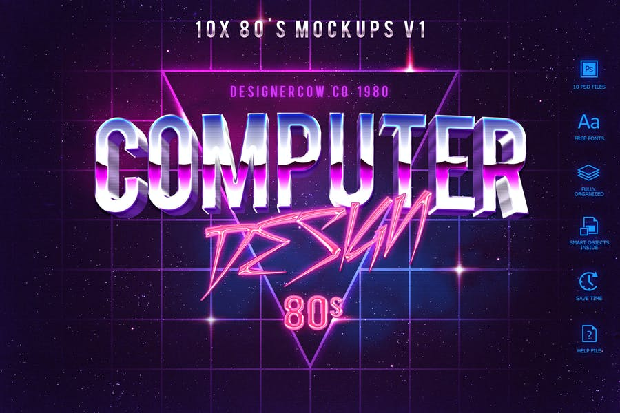 80's Style Text Mockups V1