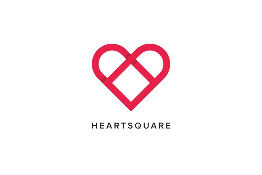 Heart Square Logo Template