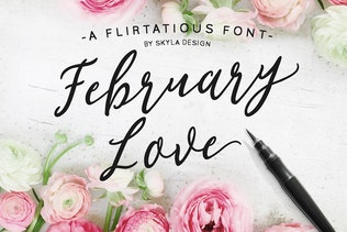 Flirty feminine font, February Love