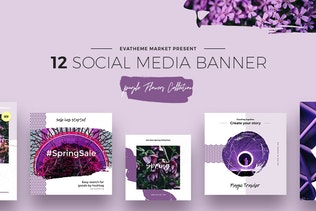 Purple Flowers Social Media Designs